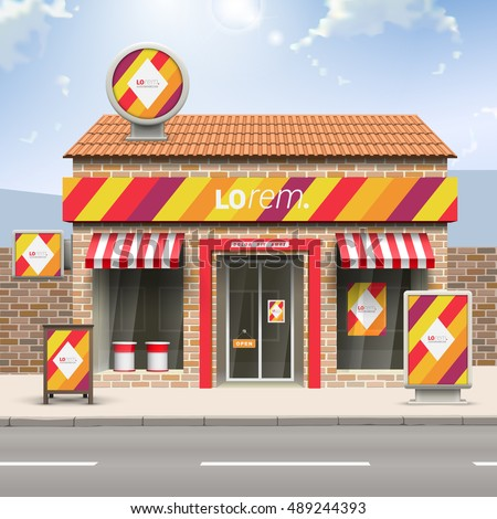 Color store design with red, orange and yellow diagonal lines. Elements of outdoor advertising. Corporate identity