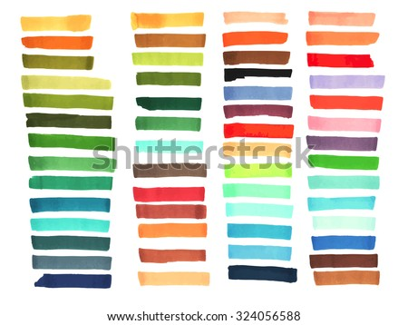 Color stripes drawn with markers. Stylish elements for design. Vector brushes marker stroke bright color