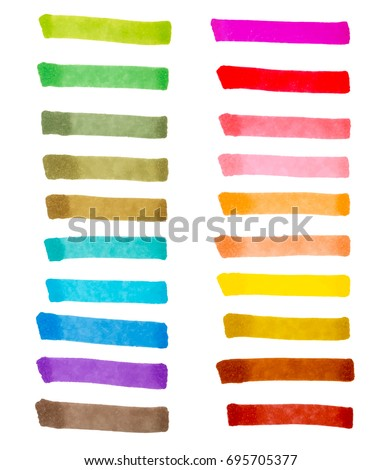 Color stripes drawn with markers. Stylish elements for design. Vector brushes marker stroke bright color.