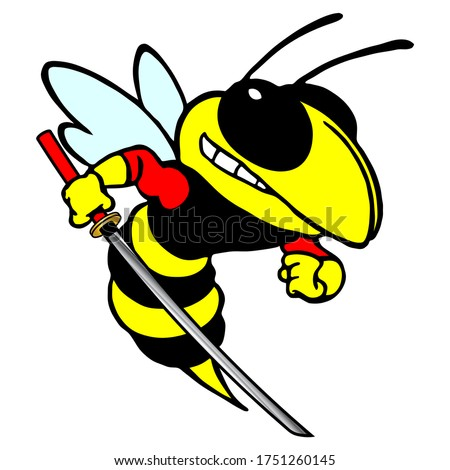 Color Stylized Vector Image Of A Wasp With A Katana. Color Stylized Vector Image Of A Hornets With A Katana.