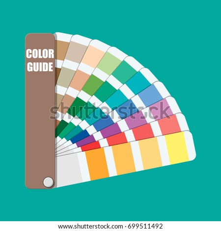 Color swatch. Color palette guide. Colorful scale. Rainbow tool for designer, photographer, artist. Coloured swatches catalogue, book, pantone. Vector illustration in flat style