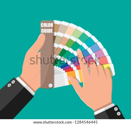Color swatch. Color palette guide in hand. Colorful scale. Rainbow tool for designer, photographer, artist. Coloured swatches catalogue, book, pantone. Vector illustration in flat style