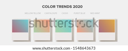 Color swatches with gragients of fashion key colors of 2020: Mellow Yellow, Cantaloupe, Cassis, Purist Blue, Neo-Mint. Vector illustration. Photo stock ©