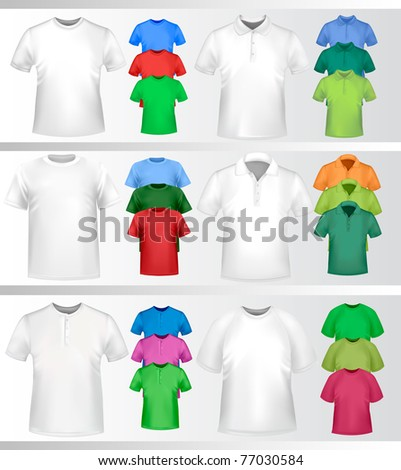 Color t-shirt design template. Photo-realistic vector illustration ...