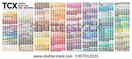 Color table Pantone of the Fashion, Home and Interiors colors. Color palette with number, named color swatches, chart conform to pantone RGB, HTML and HEX description. Test page for print on cotton.