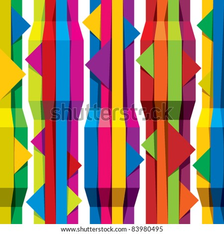 Color tapes seamless pattern, vertical lines with horizontal arrows, vector background for conceptual design projects.