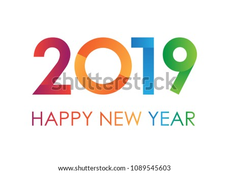 Color text 2019 Happy New Year text for greeting card on white background, calendar, invitation. Vector illustration.