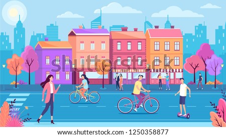 Color town street road and walking people  vector illustration Сток-фото ©