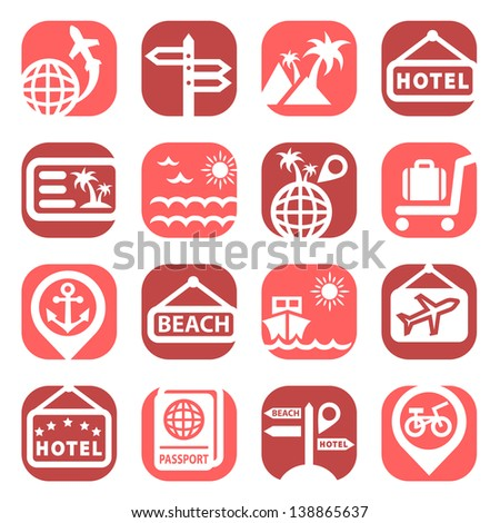 Color Travel Icons Set Created For Mobile, Web And Applications.