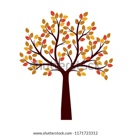Color Tree and Roots. Vector Illustration. Nature and garden.