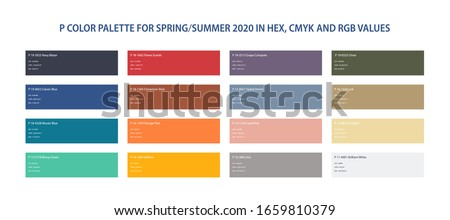 Color trend 2020 palette for spring, summer 2020 in HEX, CMYK, RGB values. Set year color trend for fashion, home, interiors design, vector illustration. Color swatch trend.