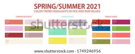 Color trend palette 2021 spring, summer in HEX and RGB values. Set of year trend color for fashion, home, interiors design, vector illustration. Color swatch trend spring and summer 2021 year.
