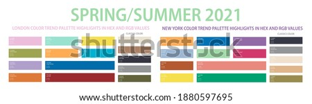 Color trend 2021 spring, summer palette in HEX and RGB values. Set of year trend color matching fashion, home, interiors design, vector illustration. Color swatch trend spring and summer 2021 year.