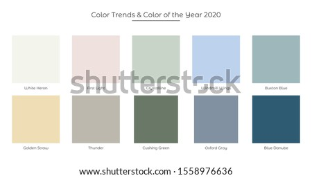 Color Trends and Color of the Year 2020 fresh palette. Trandy colors. Vector illustration