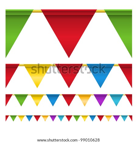 Color triangle celebration flags isolated on white