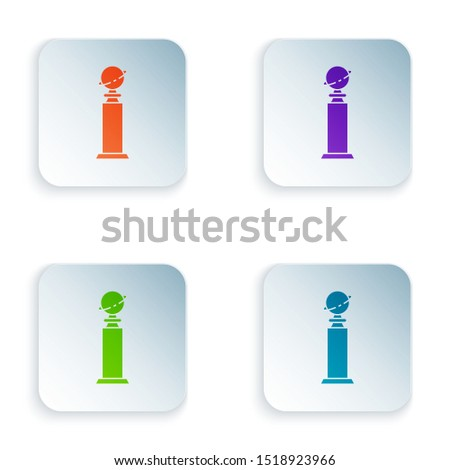 Color Trophy Golden Globe icon isolated on white background. Academy award icon. Films and cinema symbol. Set icons in colorful square buttons. Vector Illustration
