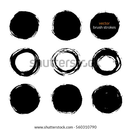 color vector brush strokes circles of paint