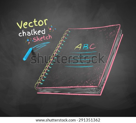 Color vector chalk drawing of school notebook