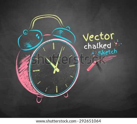 Color vector chalkboard drawing of alarm clock.