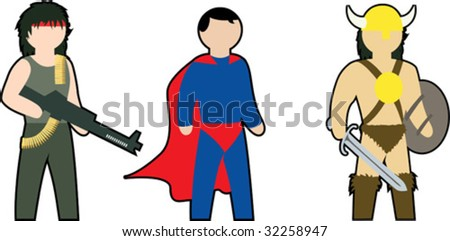 color vector clip-art of action heroes