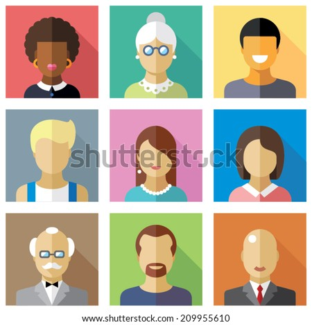 Color vector flat icon set and illustration different people character female male child boy girl grandmother grandfather student businessman housewife hired worker