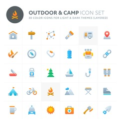 Color vector icons related to outdoor activity and camp. Symbols such as outdoor equipment and activity are included in this set. Perfect for light and dark background, editable and layered.