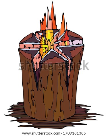 """color vector illustration - fire """"Finnish candle"""" from one solid wood deck"""