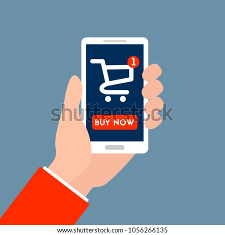 "Color vector illustration. Hands holding a phone. There is online-shopping and button ""buy now"""