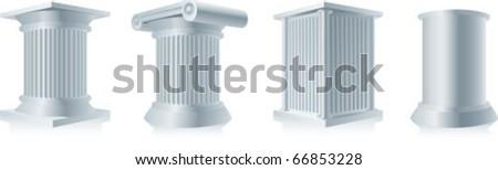 color vector illustration of stone column pedestals