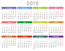 Color vector illustration of 2015 year annual calendar (Monday first, English)