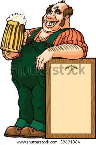 color vector illustration with fat man drinking beer