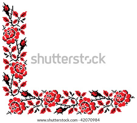 Color vector image of flowers (bud, roses) using traditional Ukrainian embroidery elements. Can be used as pixel-art.