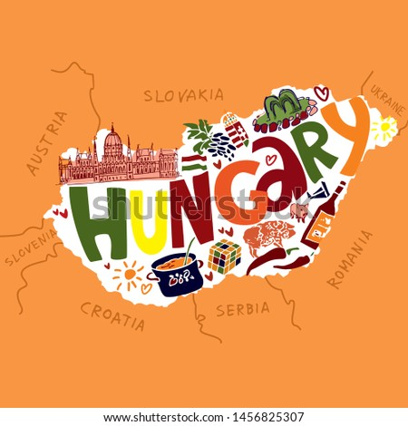 Color Vector map of Hungary in the center with the inscription Hungary with symbols on a yellow background for icons logos and travel guides. Cute cartoon vector illustration.