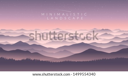color vector mountains with fog