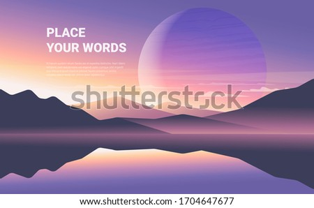 Color vector mountains with fog. Minimalistic vector landscape with a big planet for your design. Magical hill silhouette background.