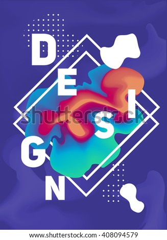 color vector poster with liquid