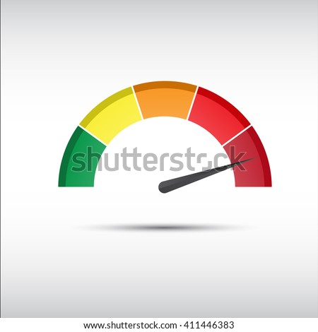 Color vector tachometer, speedometer and performance measurement icon, illustration for your website, infographic and apps