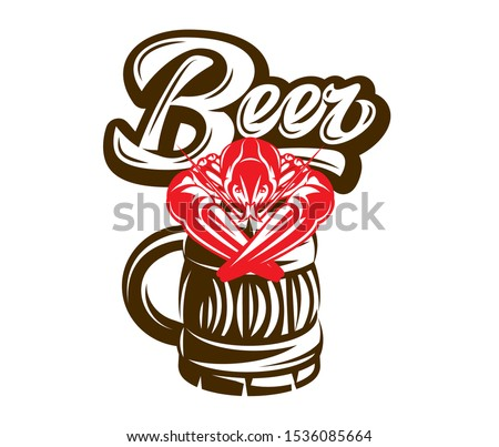 Color vector template for pub advertisement with beer and crayfish. ストックフォト ©