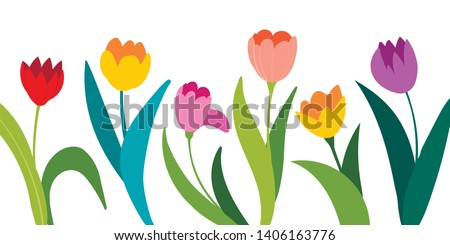 Color vector tulips isolated on white background. Flowers in different shapes for your design and greetings, postcards card for your loved ones. Spring landscape of illustrations. Stock photo ©