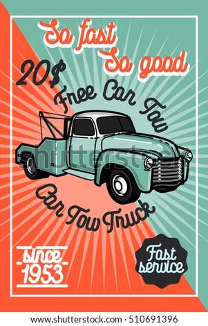 color vintage car tow truck...