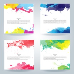 color water background colour splash layout vector poster design kid set of shiny multicolor vector watercolor background valuable for any project where a platter of color makes the difference color w