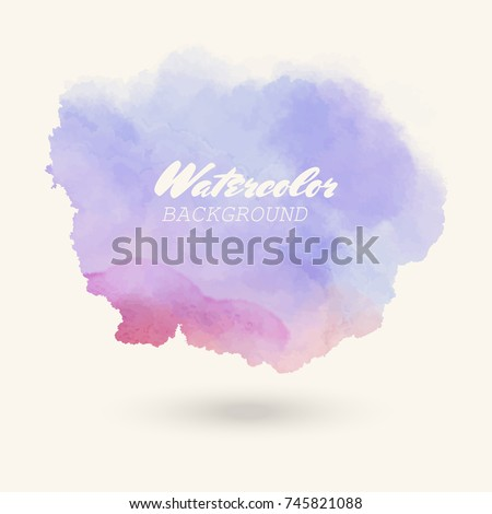 Color watercolor hand drawn isolated wash spot on white background for text design, web. Abstract cold colour brush paint paper grain texture. Sample element for wallpaper, label. Vector illustration.