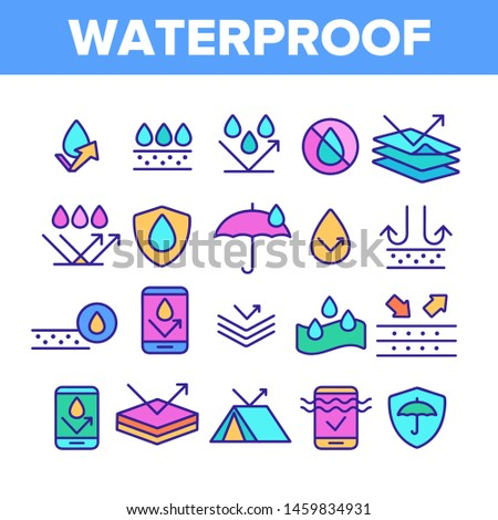 Color Waterproof, Water Resistant Materials Vector Linear Icons Set. Waterproof, Surface Protection Outline Cliparts. Hydrophobic Fabric Pictograms Collection. Anti Wetting Material Illustration