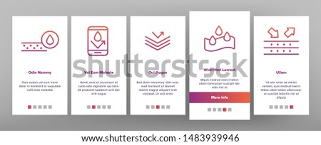 Color Waterproof, Water Resistant Materials Vector Onboarding Mobile App Page Screen. Waterproof, Surface Protection. Hydrophobic Fabric Pictograms Collection. Anti Wetting Material Illustration