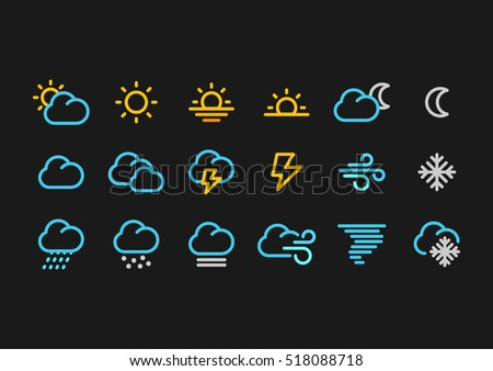 Color Weather Forecast icons in line style