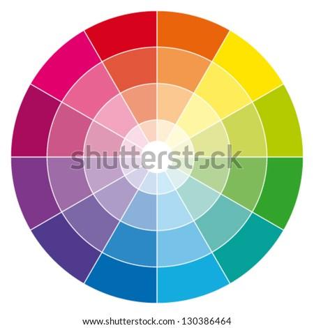 Color wheel. Vector illustration guide.