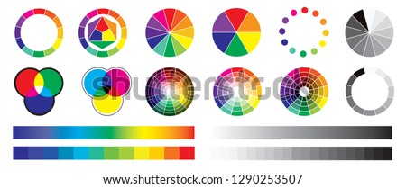 Color wheel wheels types of color Spectrum Red green Blue Cyan Magenta Yellow Black white RGB CYMK Chart Colors Samples circle charts raster emplates pie graph infographic vector fun funny collors