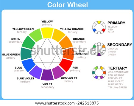 Shutterstock Color Wheel Worksheet - Red Blue Yellow color : for kids