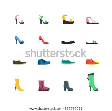 color woman shoes set fashion