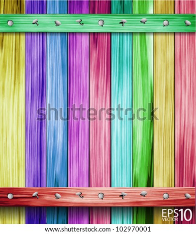 color wood plank background. vector illustration - stock vector